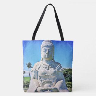 """Exhale"" quote Hawaii white Buddha photo tote bag"