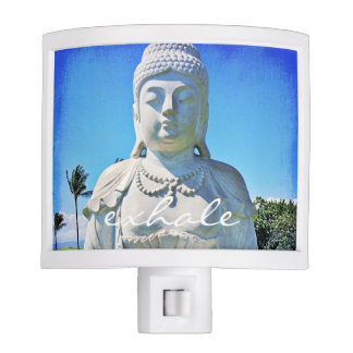 """Exhale"" Quote Hawaiian White Buddha Photo Nite Lites"
