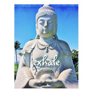 """Exhale"" quote Hawaiian white Buddha photo Postcard"