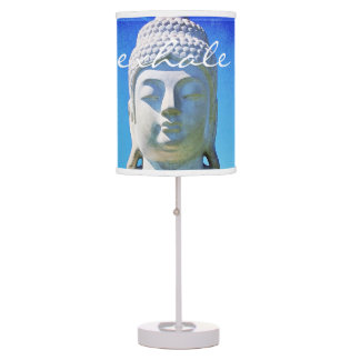 """Exhale"" Quote Hawaiian White Buddha Photo Table Lamp"