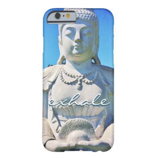 """""""Exhale"""" Quote Peaceful Hawaii White Buddha Photo Barely There iPhone 6 Case"""