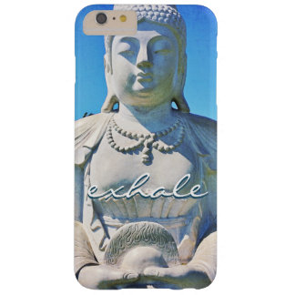 """""""Exhale"""" Quote Peaceful Hawaii White Buddha Photo Barely There iPhone 6 Plus Case"""