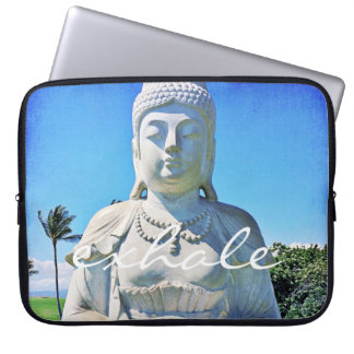 """Exhale"" Quote Peaceful Hawaii White Buddha Photo Laptop Sleeve"