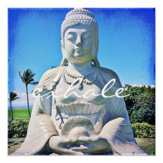 """""""Exhale"""" Quote Peaceful Hawaii White Buddha Photo Poster"""