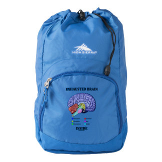 Exhausted Brain Inside Anatomical Brain Humor Backpack