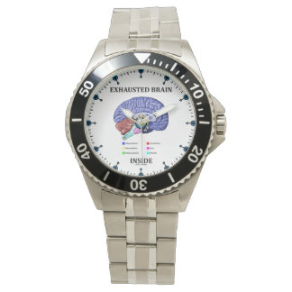 Exhausted Brain Inside Anatomical Brain Humor Wrist Watches