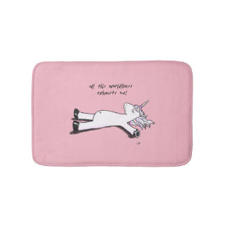 Exhausted Unicorn Bath Mat