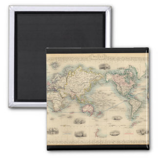 Exhausteds World Map 18 Square Magnet
