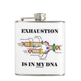 Exhaustion Is In My DNA Genetics Geek Humor Hip Flask