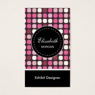 Exhibit Designer- Pink Polka Pattern Business Card