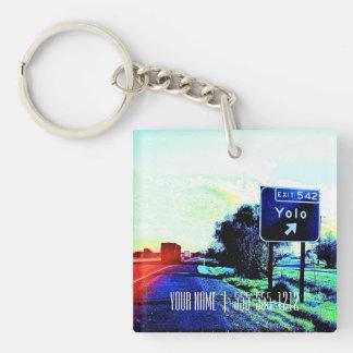 Exit 542 Yolo Single-Sided Square Acrylic Keychain