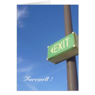 exit farewell card