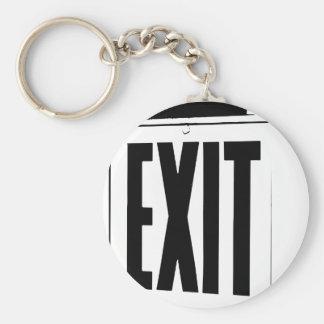 exit sign basic round button keychain