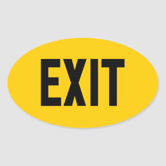 Exit, Way Out Oval Sticker