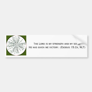 Exodus 15:2 Mandala Car Bumper Sticker