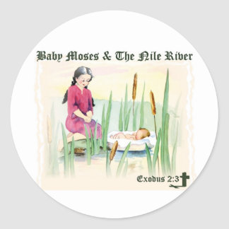 Exodus 2:3 - Baby Moses on the Nile River Round Sticker