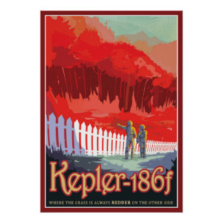 Exoplanet Kepler-186f Sci-fi Travel Illustration Poster