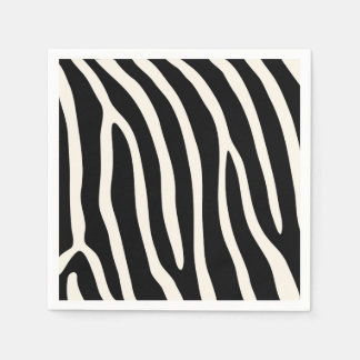 Exotic Animal Zebra Stripes in Black Paper Napkins