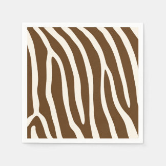 Exotic Animal Zebra Stripes in Brown Paper Napkin
