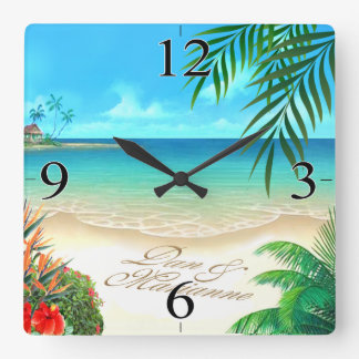 Exotic Beach ASK ME TO DRAW YOUR NAMES IN SAND Wallclocks