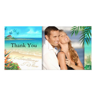 Exotic Beach ask me to put your names in the sand Custom Photo Card