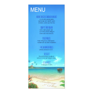 Exotic Beach Wedding Menu ask about names in sand Custom Invites