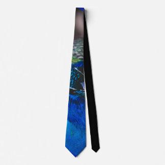 Exotic bird blue tie