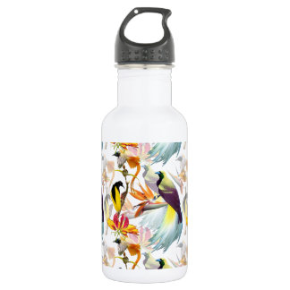 Exotic Birds of Paradise and Flowers Watercolor 532 Ml Water Bottle