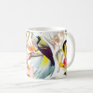 Exotic Birds of Paradise and Flowers Watercolor Coffee Mug
