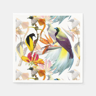 Exotic Birds of Paradise and Flowers Watercolor Disposable Napkins