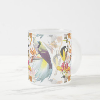 Exotic Birds of Paradise and Flowers Watercolor Frosted Glass Coffee Mug