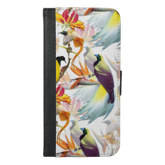 Exotic Birds of Paradise and Flowers Watercolor iPhone 6/6s Plus Wallet Case