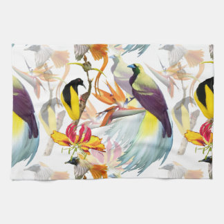 Exotic Birds of Paradise and Flowers Watercolor Kitchen Towel