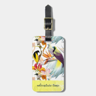 Exotic Birds of Paradise and Flowers Watercolor Luggage Tag