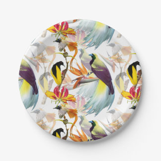 Exotic Birds of Paradise and Flowers Watercolor Paper Plate