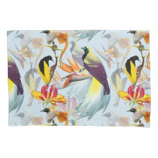 Exotic Birds of Paradise and Flowers Watercolor Pillowcase