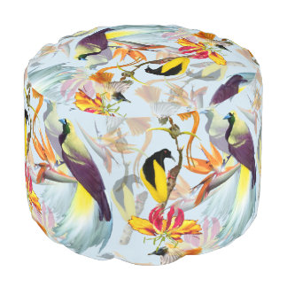 Exotic Birds of Paradise and Flowers Watercolor Pouf