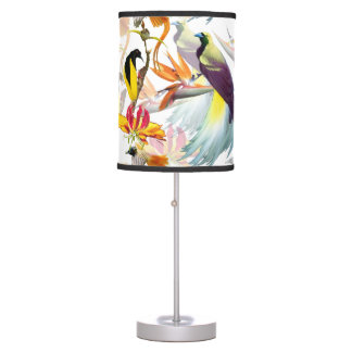 Exotic Birds of Paradise and Flowers Watercolor Table Lamp