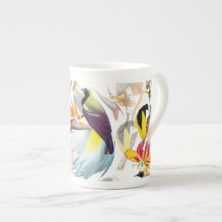 Exotic Birds of Paradise and Flowers Watercolor Tea Cup
