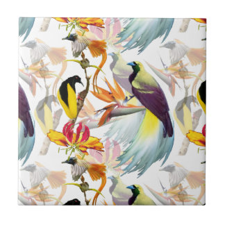 Exotic Birds of Paradise and Flowers Watercolor Tile