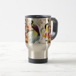 Exotic Birds of Paradise and Flowers Watercolor Travel Mug