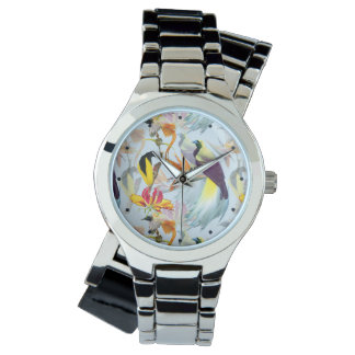 Exotic Birds of Paradise and Flowers Watercolor Watch