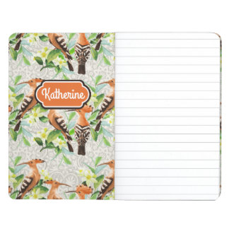 Exotic Birds On Lace | Add Your Name Journal