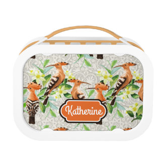 Exotic Birds On Lace | Add Your Name Lunchbox
