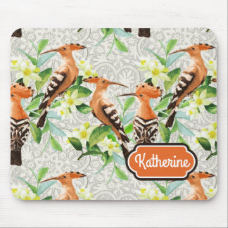 Exotic Birds On Lace | Add Your Name Mouse Pad