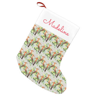 Exotic Birds On Lace   Add Your Name Small Christmas Stocking
