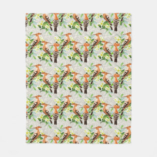 Exotic Birds On Lace Fleece Blanket
