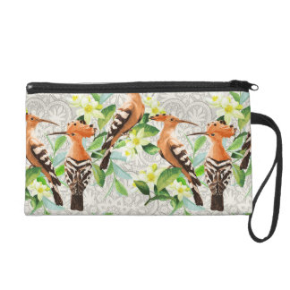Exotic Birds On Lace Wristlet