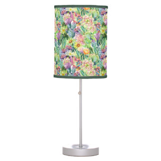 Exotic Blooming Watercolor Cacti Pattern Table Lamp