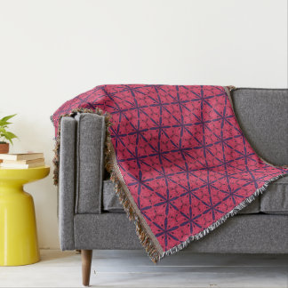 Exotic blue and red flowers and tendrils throw blanket